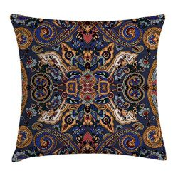 Ambesonne Paisley Throw Pillow Cushion Cover, Moroccan Florets Slavic Effects Heritage Design, D ...