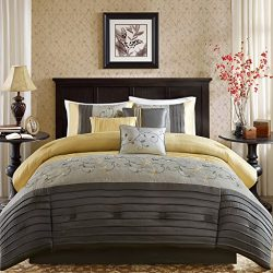 Madison Park Serene Queen Size Bed Comforter Set Bed in A Bag – Yellow, Embroidered – 7 Pi ...