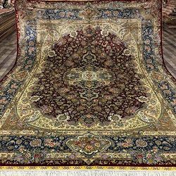 YUCHEN CARPET 9×12 Red Persian Area Silk Rugs for Living Room