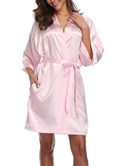 Women's Pure Color Silk Kimono Short Robes for Bridesmaids and Bride Pink L/XL
