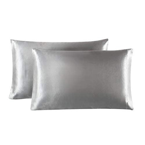 Lovescabin Two-Pack Satin Pillowcases Set for Hair and Skin King Size 20×40 Light Grey Pill ...