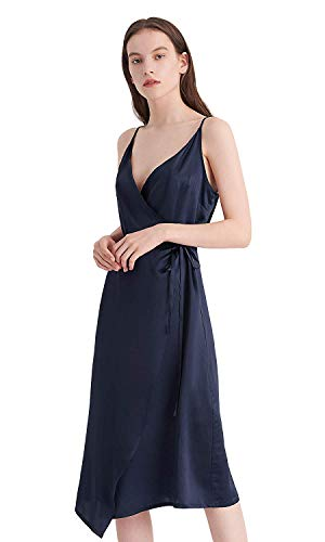 LilySilk Silk Dress for Women Vintage Blue 16MM Sexy V-Neck Wedding Prom Party Summer Tie Waist  ...