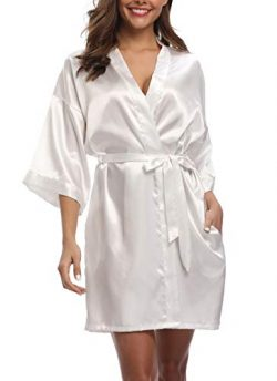 Women's Pure Color Silk Kimono Short Robes for Bridesmaids and Bride White S/M