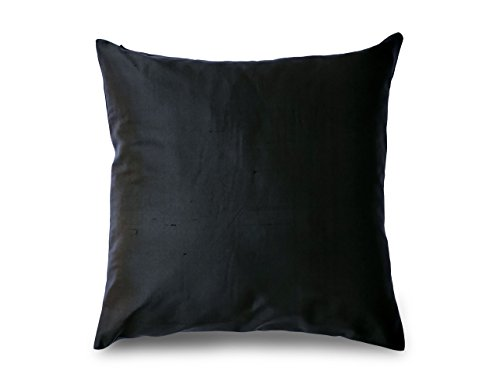 Craftbot Couch Throw Pillows in Black Silk 18×18 inches set of 2 pieces 100% Pure silk Dupi ...