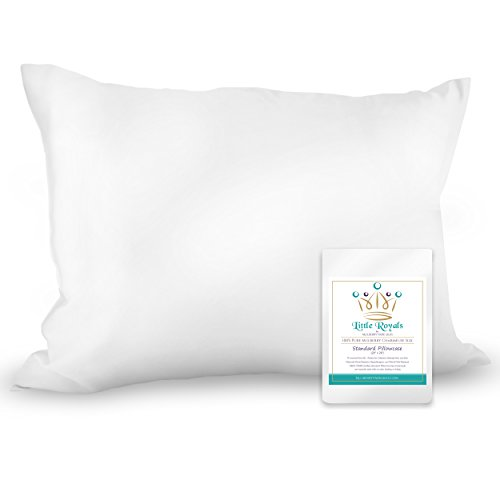 Little Royals – 100% Pure Charmeuse Silk Standard Pillowcase – Natural White – ...