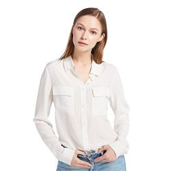 LilySilk Women's 100% Silk Blouse Long Sleeve Ladies Shirts 18 Momme White Silk M