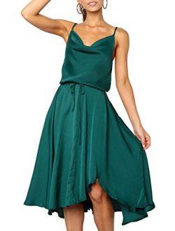 Merryfun Women's Satin Slip Camisole Dress with Adjustable Spaghetti Straps Elastic Wrist, ...