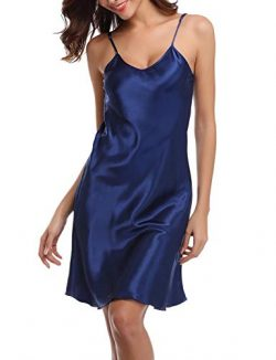 Abollria Women's Satin Full Slip Dress Spaghetti Strap Nightdress Lingerie Chemise Nightgo ...