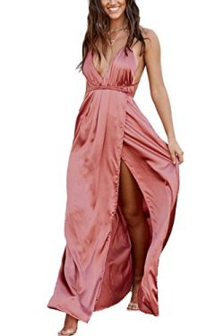 Yimeili Women's Sexy Deep V Neck Backless Split Maxi Cocktail Long Party Dresses (M, Rosetta)