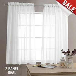 Sheer White Curtains for Living Room 63 inch Length Bedroom Window Curtain White Sheer Curtain P ...