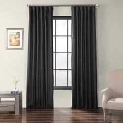 HPD Half Price Drapes SSCS-180744-84 Faux Shantung Silk Curtain 50 x 84 Papillon Black