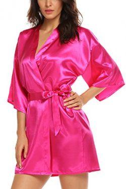 Avidlove Women's Kimono Robe Satin Lounge Bridesmaids Short Style Rose Red L