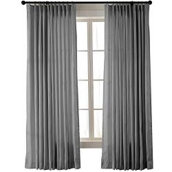 ChadMade Vintage Textured Extra Wide Faux Dupioni Silk Drape Curtain Panel Pinch Pleated 120&#82 ...