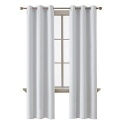 Deconovo Room Darkening Thermal Insulated Blackout Grommet Window Curtain Panel for Bedroom, Gre ...