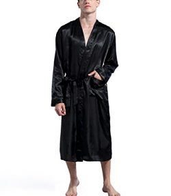 Mobarta Men's Satin Kimono Robe Long Bathrobe Lightweight Loungewear Sleepwear Silk Nightw ...