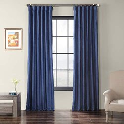 HPD Half Price Drapes SSCS-180737-96 Faux Shantung Silk Curtain, 50 x 96 Swallow Tail Blue