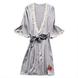 RAINED-Women's Silk Robe Long Satin Kimono Robe Lightweight Bathrobe Lace Trim Bridesmaid  ...