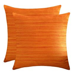 The White Petals Rust Throw Pillow Covers (Faux Silk, 18×18 inch, Pack of 2)