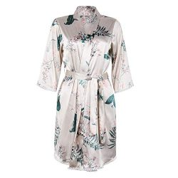 BellisMira Sexy Slip Satin Sleepwear Lace Cami Flower V-Neck Floral Silk Kimono Robe Women