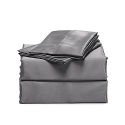 Bedsure 4-Piece Satin Bed Sheet Set Queen Dark Gray Smooth and Silky with Deep Pocket Fitted Sheet