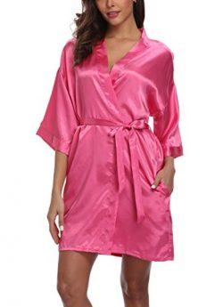 Women's Pure Color Silk Kimono Short Robes for Bridesmaids and Bride Rose 2XL/3XL