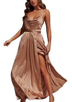 Yimeili Women's Sexy Deep V Neck Backless Split Maxi Cocktail Long Party Dresses(27Color S ...