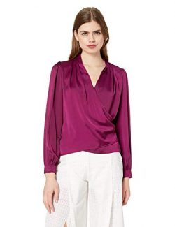 ASTR the label Women's Janice Long Sleeve Drape Cowl WRAP Blouse TOP, Grape, XS