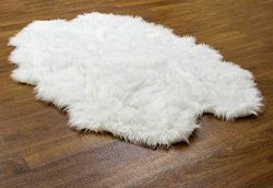 Super Area Rugs Silky Shag Rug Faux Fur Sheepskin Rugs in White, 4′ x 6′ Sheepskin Pelt