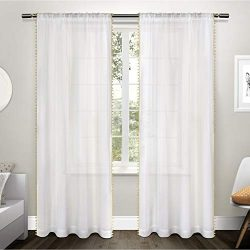 Exclusive Home Pom Pom Applique Bordered Textured Sheer Rod Pocket Curtain Panel Pair, Sundress  ...
