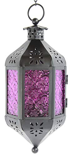 Purple Glass Hanging Moroccan Candle Lantern with Chain