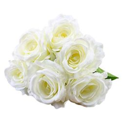 Artificial Flowers, MaxFox Fake Silk Rose Bouquet Vintage Flower Bouquets Home Office Wedding Pa ...