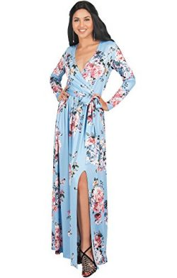KOH KOH Petite Womens Long Sleeve Floral Flower Print V-Neck Slit Split Cute Cocktail Evening Wi ...