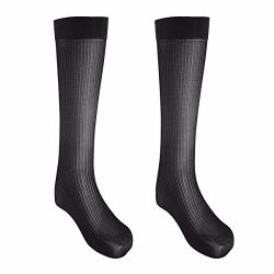 FEESHOW 2 Pairs Men's Summer Thin Silk Socks Over-the-Calf Business Dress Crew Socks Black ...