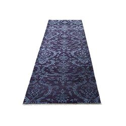 Damask Runner Tone on Tone Wool and Silk Hand Knotted Rug (2'7″x9'6″)