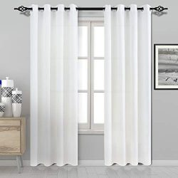 DWCN White Semi Sheer Curtains for Living Room Faux Silk Privacy Curtain Panels Grommet Window C ...