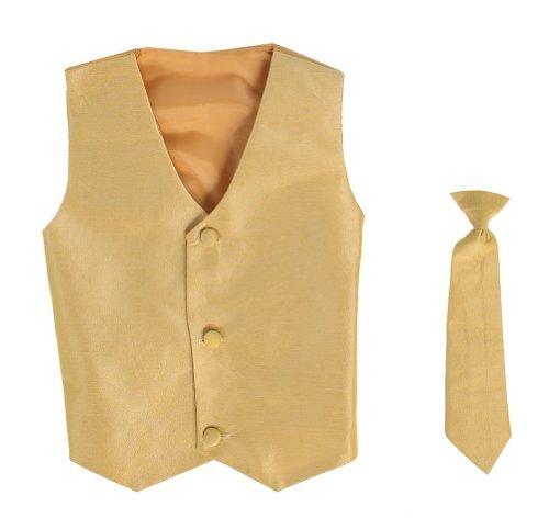 Vest and Clip On Boy Necktie set – GOLD – 8/10