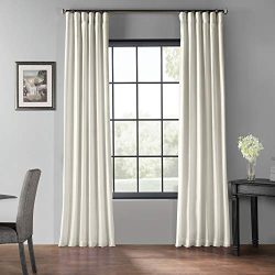 HPD Half Price Drapes Blackout Vintage Textured Faux Dupioni Silk Curtain, Off White (Ivory)