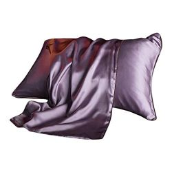Pathside Bedding Deluxe Silk Pillowcase for Hair and Skin Invisible Zipper Cool Super Soft and L ...