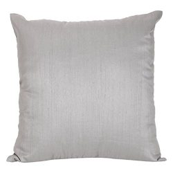 The White Petals Set of 2 Silver Grey Art Silk Pillow Covers, Plain Silk Cushion Cover, Solid Co ...