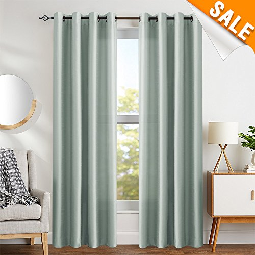 Gray Faux Silk Satin Curtains Grey for Bedroom 84 inches Long Window Panels for Living Room Ligh ...
