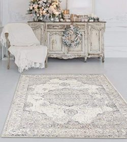 4678 Distressed Ivory 5 x 7 Area Rug Carpet Large New