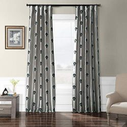 HPD Half Price Drapes EFSCH-18056-84 Embroidered Faux Silk Taffeta Curtain 50 x 84 Elias Platinum