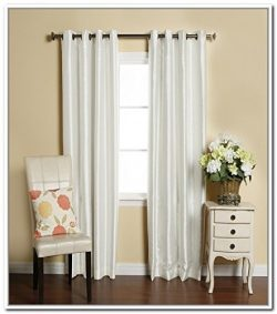 LuxuryDiscounts 2 Piece Solid Faux Silk Grommet Window Curtain Treatment Panel Drapes (54″ ...
