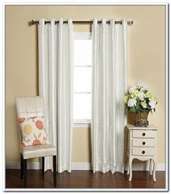 LuxuryDiscounts 2 Piece Solid Faux Silk Grommet Window Curtain Treatment Panel Drapes (54″ ...