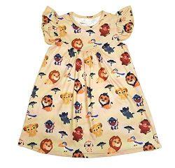 Great Lakes Kids Apparel–Lion King Inspired Milk Silk Flutter Dress- Wrinkle Free! Yellow