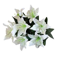 Hot Sale!!Wedding Party Home Decor,10 Heads Bridal Bouquet Artificial Fake Silk Lilies Flower (A)