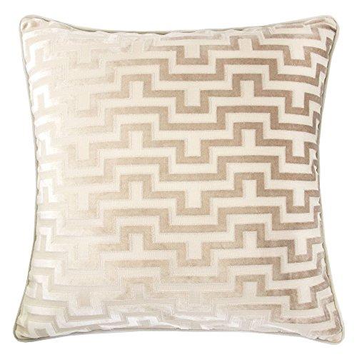 Homey Cozy Modern Maze Throw Pillow Cover,Tan Beige Luxury Velvet Soft Fuzzy Cozy Warm Slik Larg ...