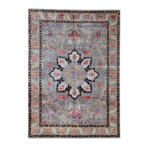 Wool and Silk Hand-Knotted Oriental Village Rug(5'x7′)