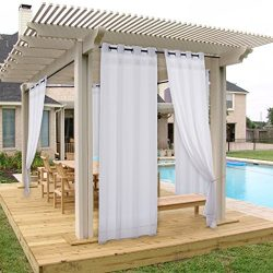 NICETOWN Outdoor Curtain Panel for Porch – Window Treatment Silver Grommet Water Repellent ...