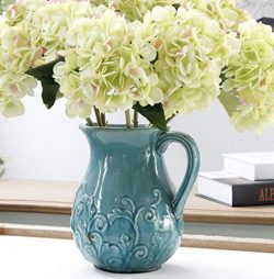 Furnily Hydrangea Artificial Flowers 5 Stems Faux Flower Arrangements Silk Flowers for Wedding B ...